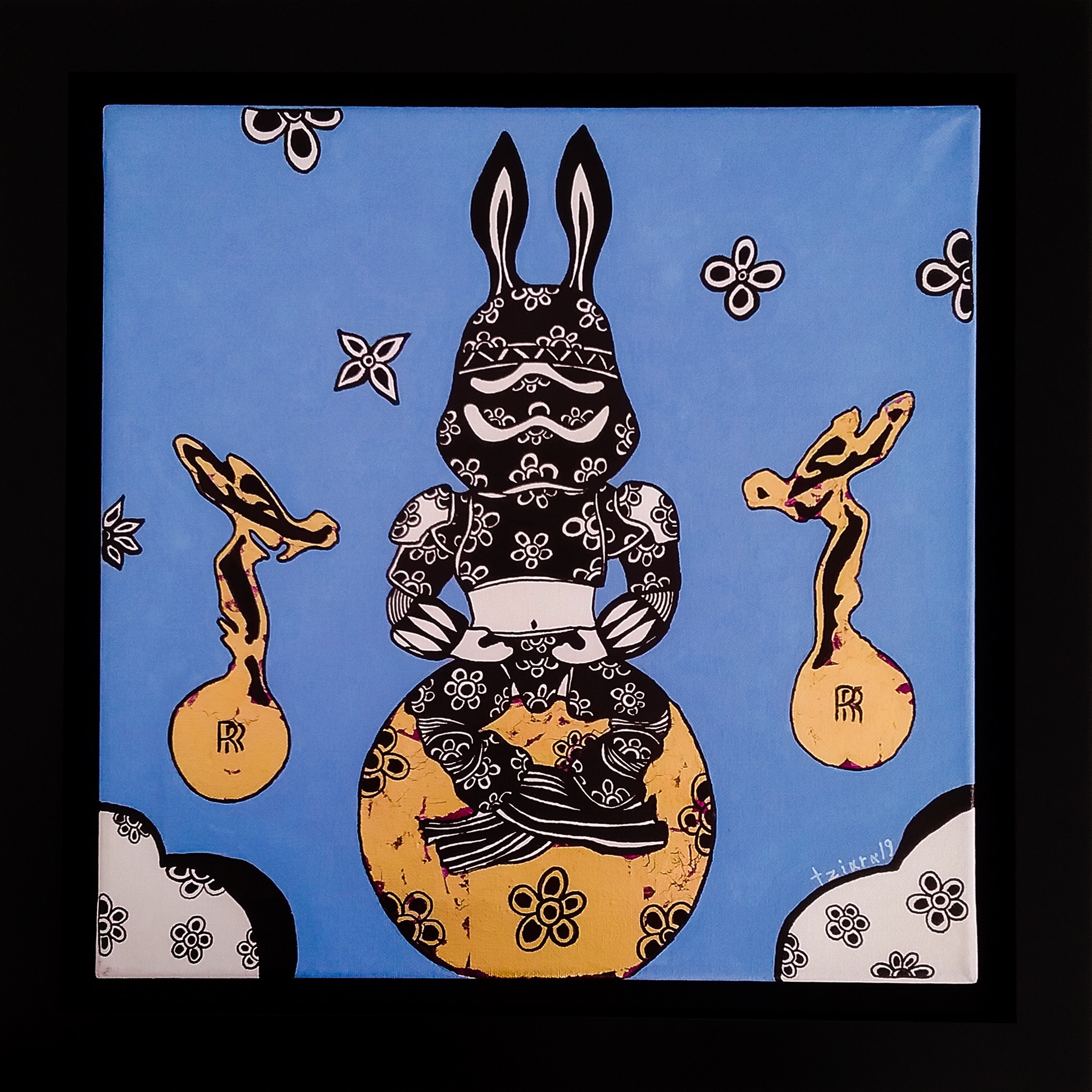 The Space Rabbit meditating in frame