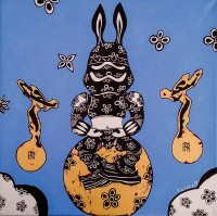 The Space Rabbit meditating